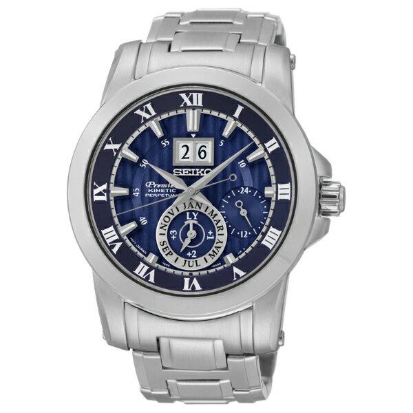 Seiko Premier 7D56-0AB0B(SNP113J1)人動電能萬年曆大視窗日期經典腕錶/藍面41mm