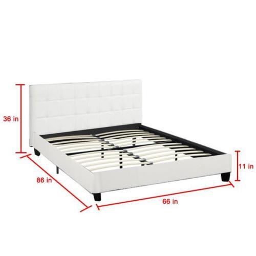 New Platform Bed Frame Upholstered White Leather Slats Headboard Bedroom Queen 2