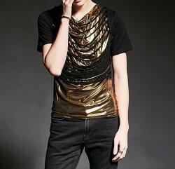 FINDSENSE 韓國潮流 個性 亮金面 破爛 時尚 街頭潮男 夜店 DJ 發型師 必備 短袖T恤 特色短T