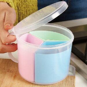 美麗大街【BF138E24E852】創意廚房用品圓形三格調味盒多用途塑料調料罐