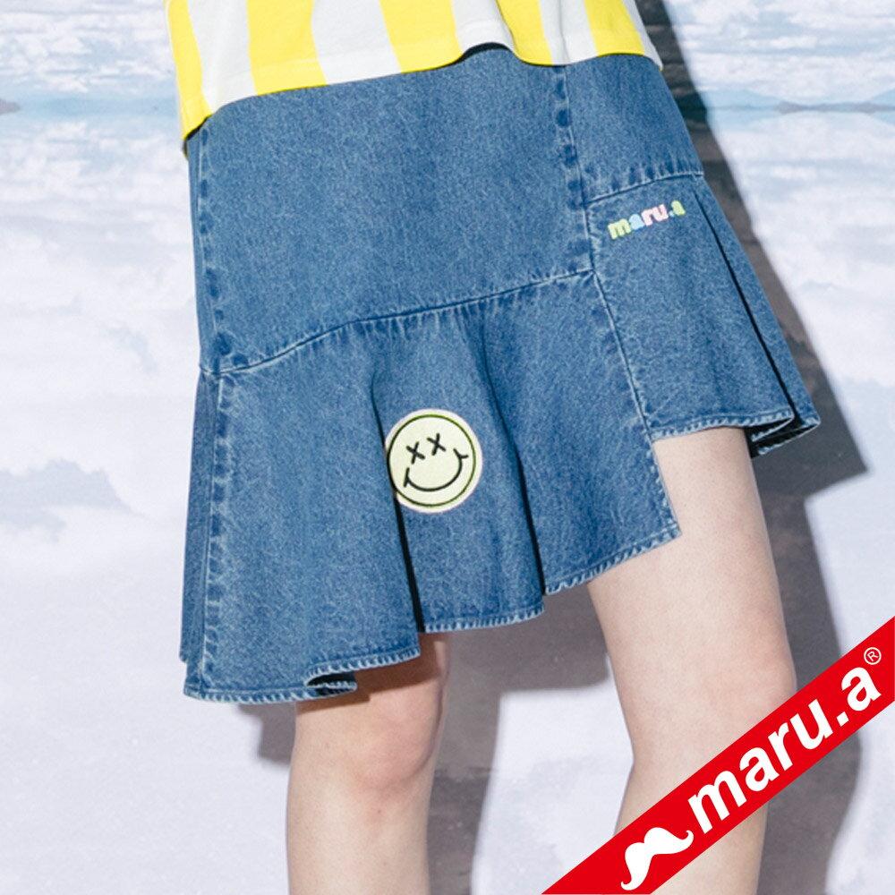 【maru.a】斜邊魚尾貼布繡牛仔裙(2色)8326113 0