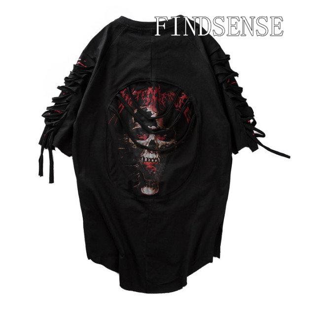 落肩 破壞 編織 上衣 歐美 上衣 破壞 特色設計 款 FINDSESNE 圓弧下擺 前短後長