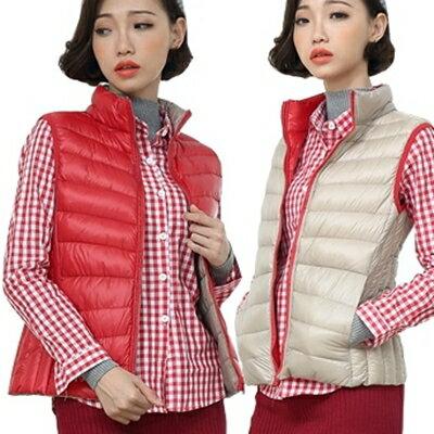 輕羽絨背心 外套 -雙面穿雙色輕薄實用純色女背心5色72x3【獨家進口】【米蘭精品】