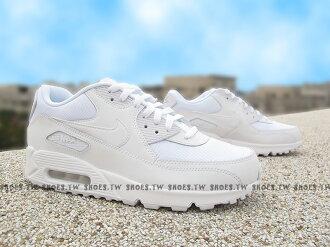 Shoestw【537384-111】NIKE MAX 90 ESSENTIAL 全白 皮革 網狀 男款【1月會員神券★消費滿1000結帳輸入序號New2018-100↘折100 | 消費滿1288結..