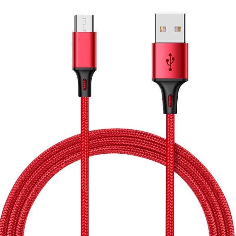 尼龍編織充電線1米3A Micro手機充電線 傳輸線 快充線 USB充電線【DC234】 123便利屋