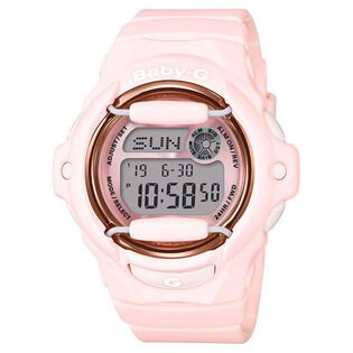 CASIOBABY-GBG-169G-4B粉嫩花朵甜美時尚數位流行腕錶