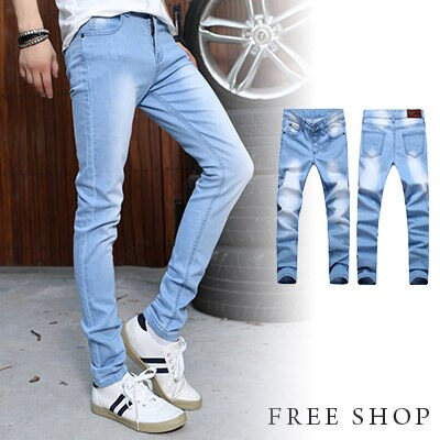 《全店399免運》Free Shop【QTJK14】韓版時尚彈性彈力材質車線設計修身概念單寧牛仔長褲‧淺藍色