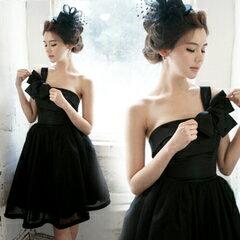 天使嫁衣【AE1120】黑色單肩優雅澎感包邊小禮服˙預購訂製款