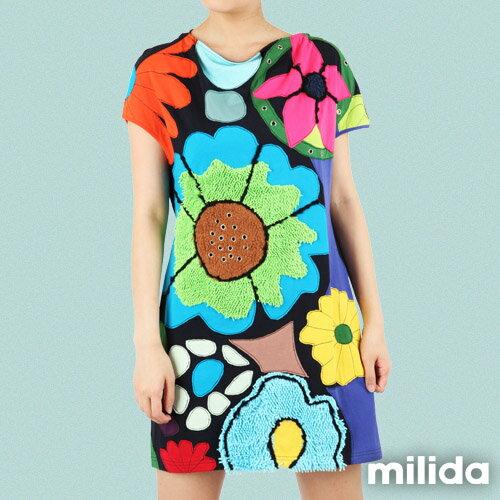 【Milida,全店七折免運】-夏季尾聲-一字領-造型花朵洋裝 4