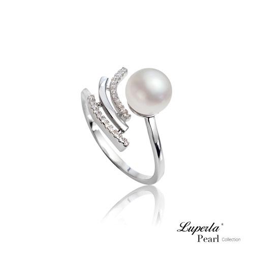 大東山珠寶燦爛流星雨純銀晶鑽天然珍珠戒指