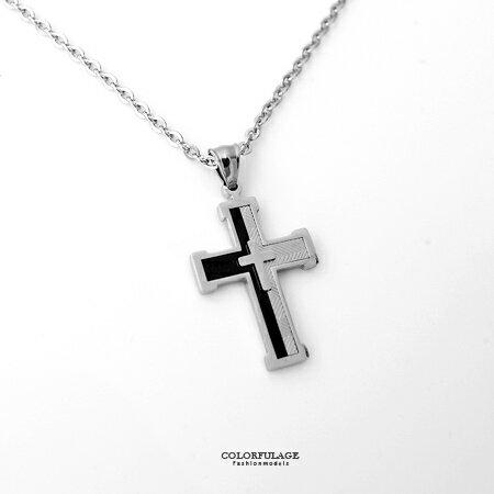 項鏈 經典雙色十字架框線條白鋼 立體層次感 型男配件時尚品味 柒彩年代【NB654】潮流嚴選 0