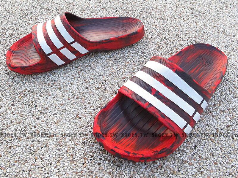 Shoestw【S80968】ADIDAS DURAMO SLIDE 拖鞋 一體成型 紅黑迷彩 男女都有