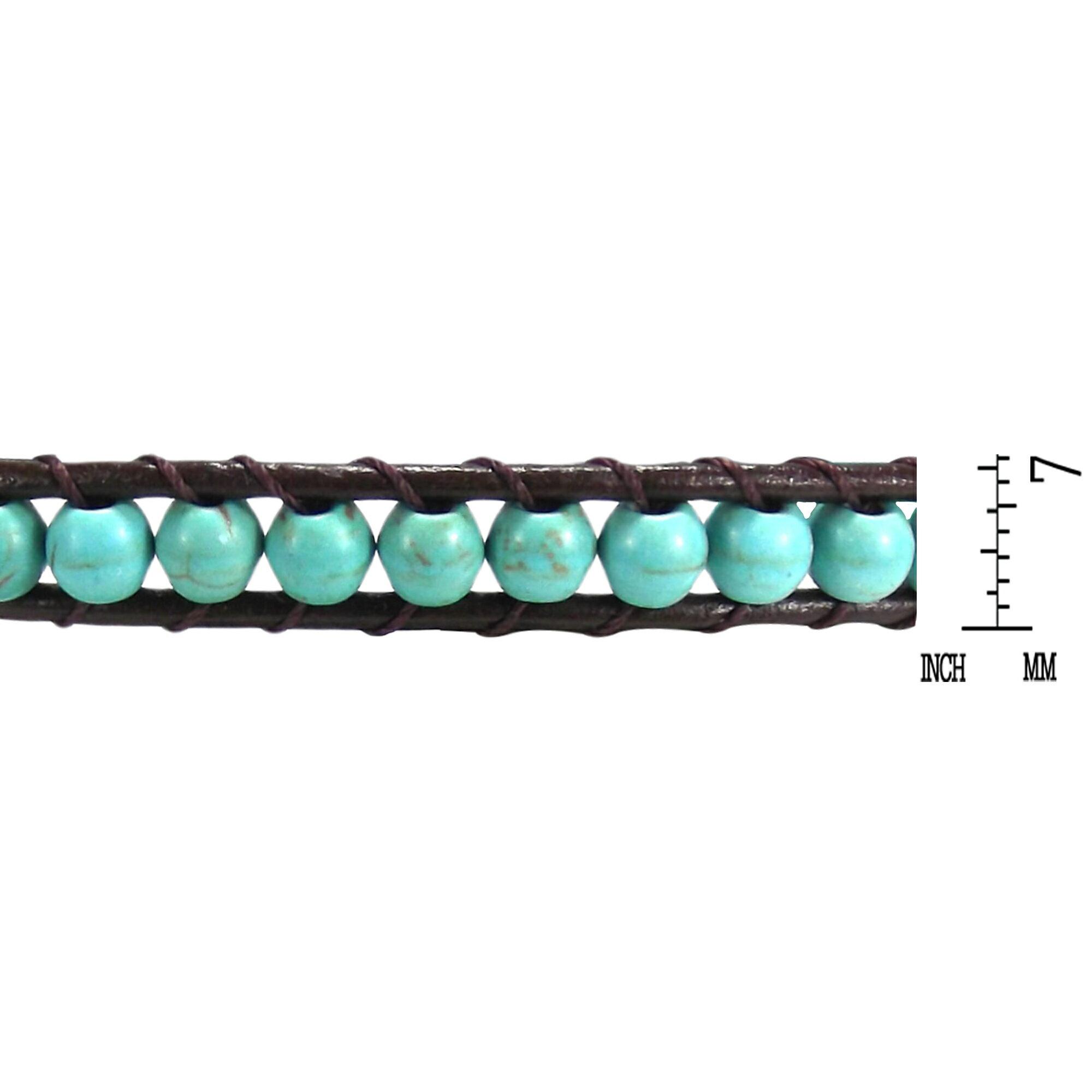 Blue Muse Turquoise Gemstone Tribal Wrap Leather Bracelet (Thailand) 3