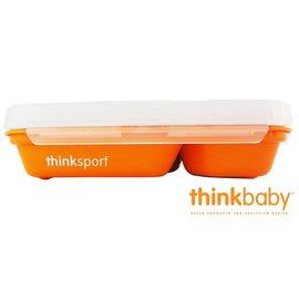 兒童餐具-Baby Joy World-美國Thinkbaby BPA Free不鏽鋼餐盤組 兒童便當盒餐盤組(附湯匙叉子+上蓋)-南瓜橘