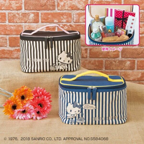 SANRIO三麗鷗凱蒂貓KITTY手提化妝包收納包兩色隨機出貨日本進口正版1802010002
