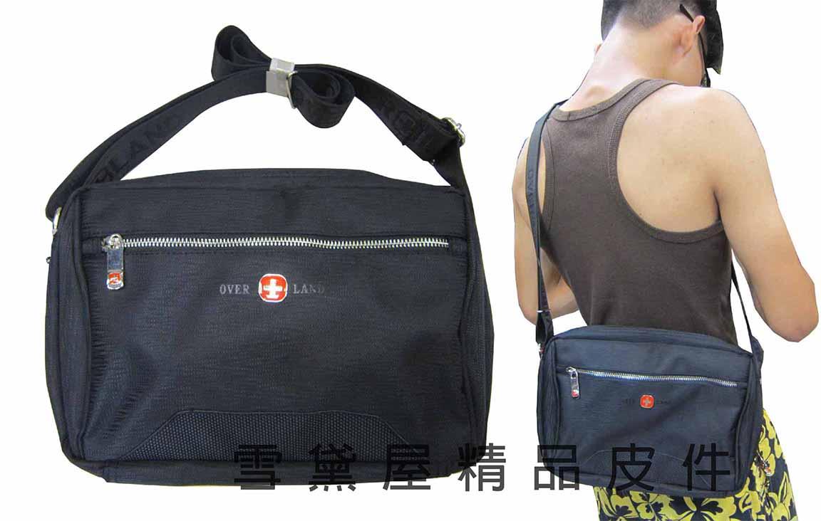 ^~雪黛屋^~OVER~LAND 肩側包二層拉鍊式主袋口 隨身物品肩背可斜側背防水尼龍布