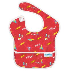 【淘氣寶寶】【美國Bumkins】防水兒童圍兜(一般無袖款6個月~2歲適用)-小超人 BKS-400【保證公司貨】