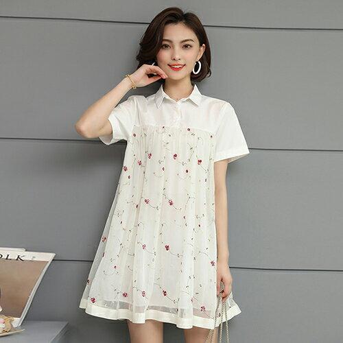 網紗寬鬆短袖中長款T恤(2色M~5XL)【OREAD】 1
