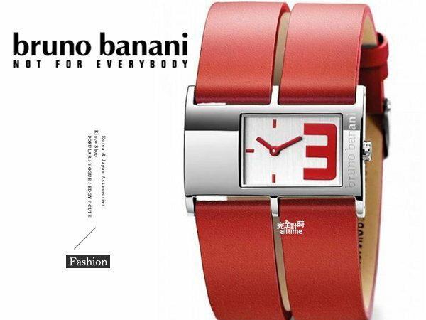 【完全計時】手錶館│德國時尚原裝bruno banani 大數字 長方型玻璃名媛 BR21042 大錶徑 嗆紅辣椒