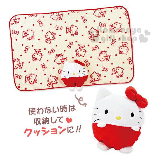 〔小禮堂〕 Hello Kitty造型毛毯《白紅.站姿》2017溫暖冬季系列