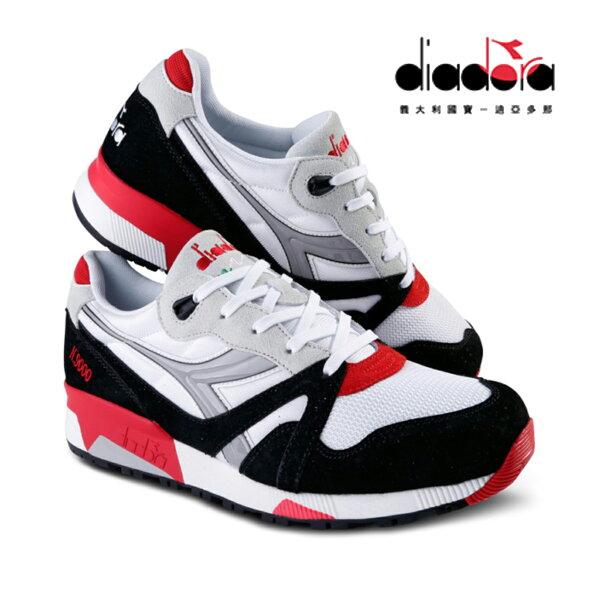 【巷子屋】義大利國寶鞋-DIADORA迪亞多納N9000系列男女款NYL義大利經典原廠復刻復古運動鞋情侶鞋[C5750]白黑紅超值價$890