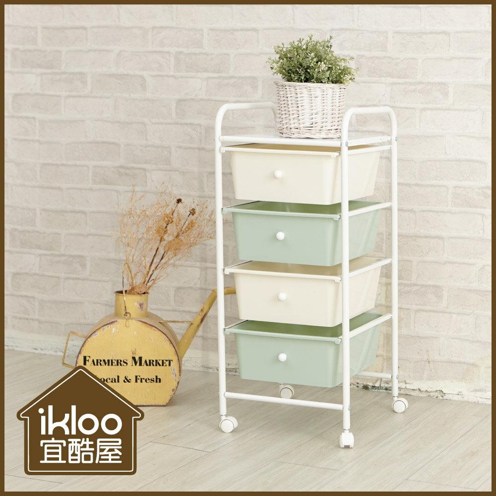 【ikloo】可移式四層白色抽屜收納箱 / 收納盒 0