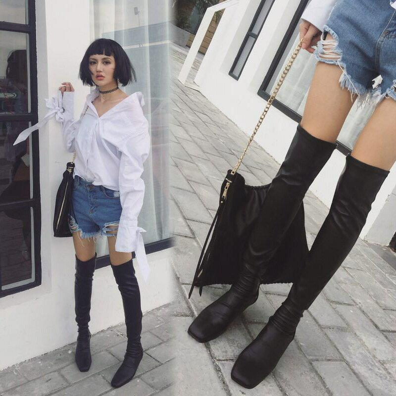 過膝長靴彈力女靴過膝靴高筒顯瘦長筒靴方頭內增高