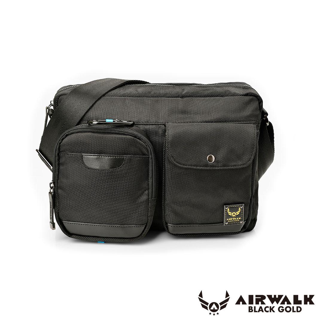 AIRWALK 黑金系列。移動裝甲。母子隨身二用口袋側背包【A331412120】黑【禾雅】
