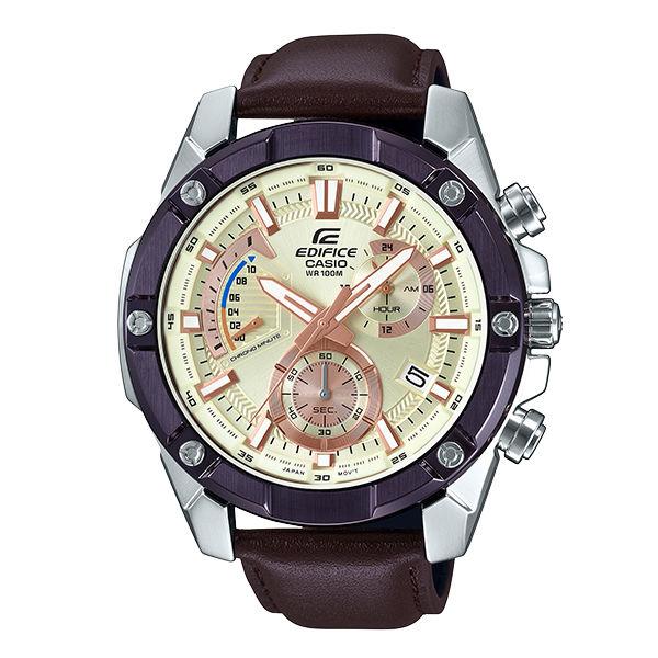 CASIO卡西歐EDIFICEEFR-559BL-7A賽車復古大型計時腕錶米白面