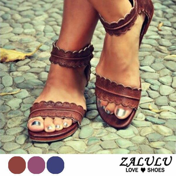 ZALULU愛鞋館7DE273預購蕾絲花花邊平底羅馬涼鞋-褐寶藍紫-35-43
