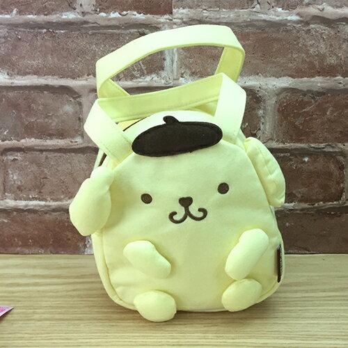 【真愛日本】17051700008 造型綿布電繡小提袋-PN黃 布丁狗 便當袋 餐袋 手提包包