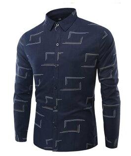 FINDSENSEZ1日系流行男時尚大碼翻領不規則方形紋理長袖襯衫長袖T恤上衣