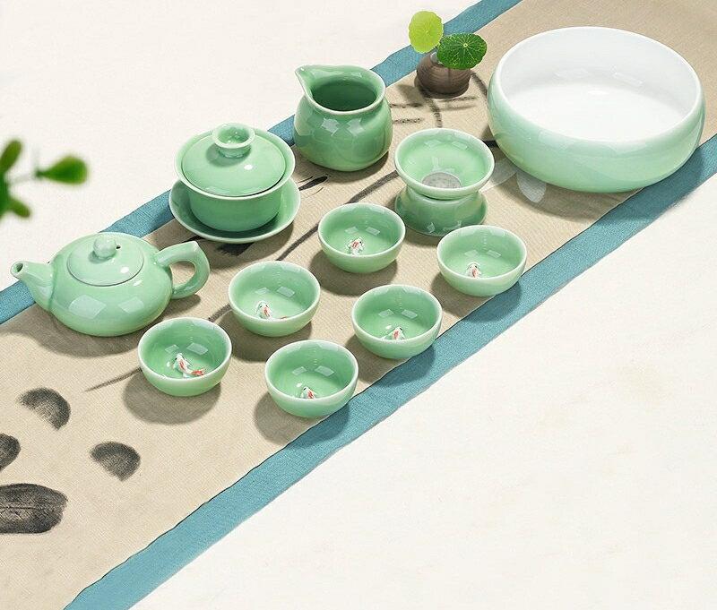 茶具套裝 青瓷功夫茶具套裝家用簡約現代泡茶杯茶壺茶藝客廳