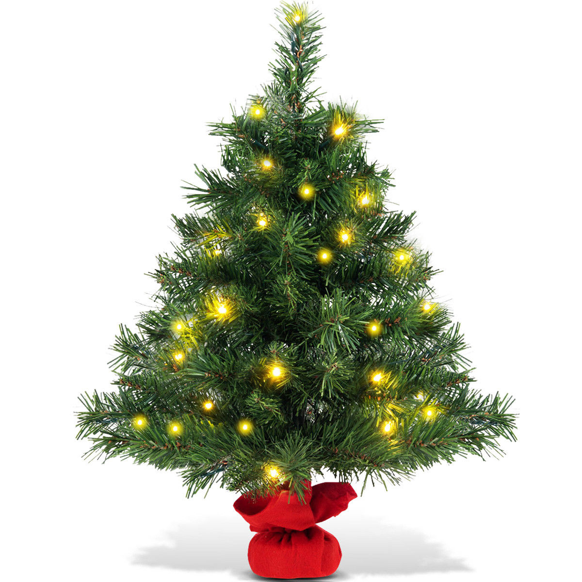 Pre Lit Outdoor Christmas Trees Battery Operated.Costway 24 Pre Lit Tabletop Fir Artifical Christmas Tree Battery Operated W Led Lights