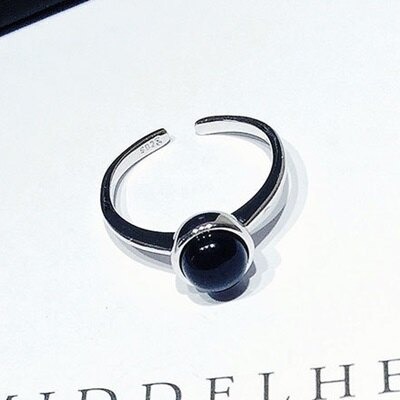 ~925純銀戒指瑪瑙開口戒~ 精緻簡約情人節生日 女飾品73gp43~ ~~米蘭 ~