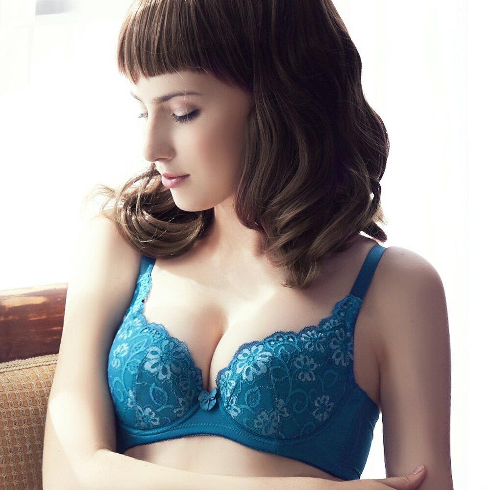 【Emon】心湛花戀深V系列成套內衣(繽紛藍) 2