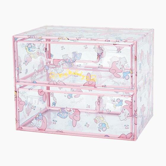 【真愛日本】4901610713006  透明兩層抽屜式置物櫃-MM+AAO 三麗鷗家族 Melody 美樂蒂 收納盒 盒子 預購