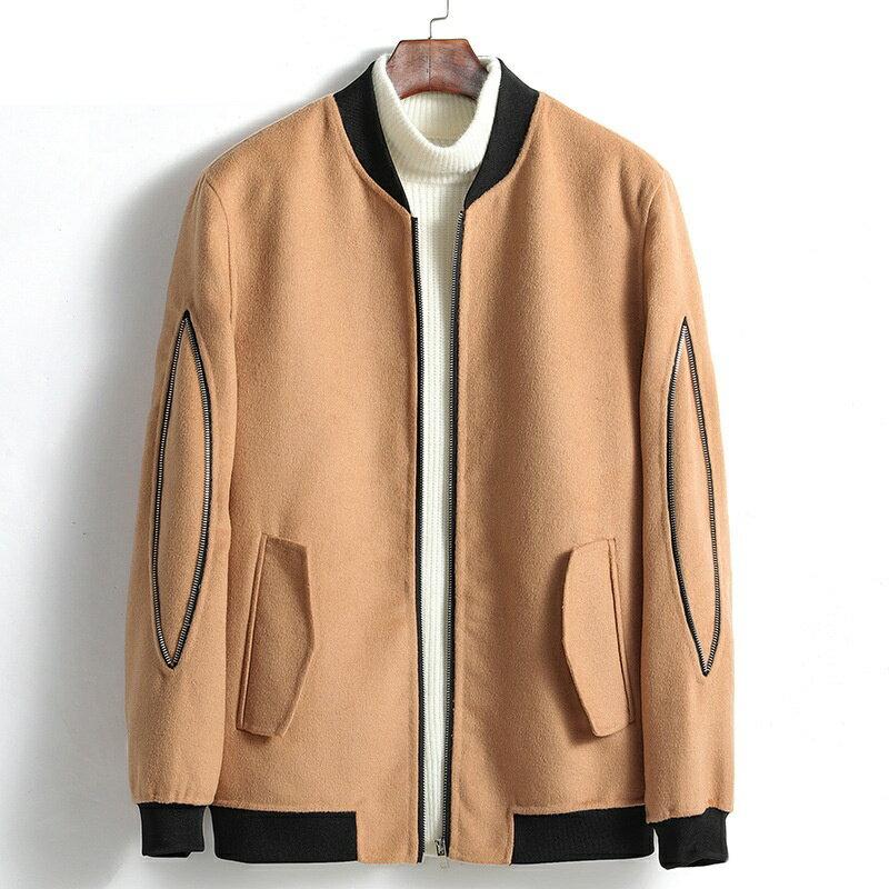 毛呢大衣短款夾克-立領休閒舒適秋冬男外套4色73wk24【獨家進口】【米蘭精品】 0