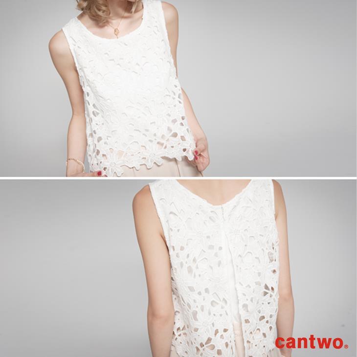 cantwo鏤空蕾絲無袖連身褲(共二色) 4