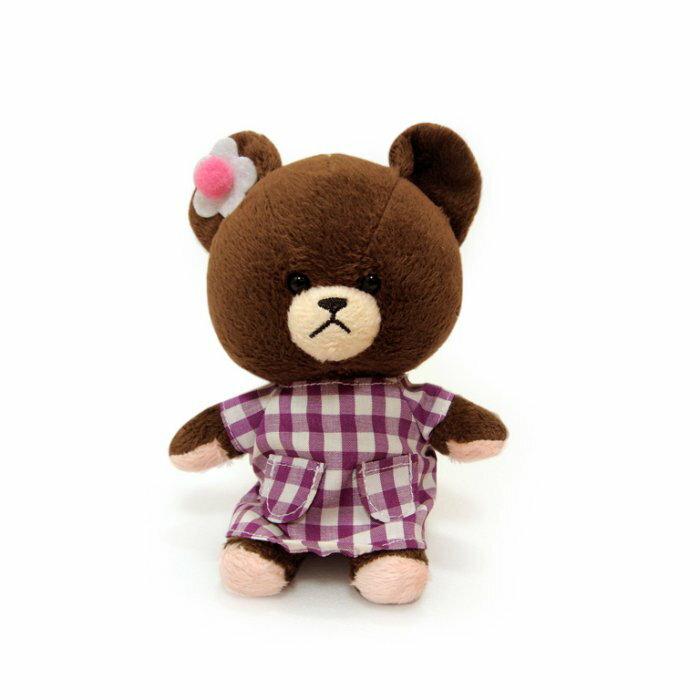 ~禾宜 ~小熊學校 10 cm 傑琪  紫色格紋洋裝  吊飾 玩偶 療癒   B10203