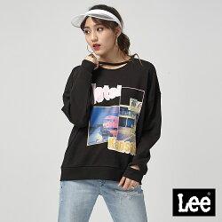 Lee 照片印刷長袖圓領厚TEE/101+-寬鬆版-黑