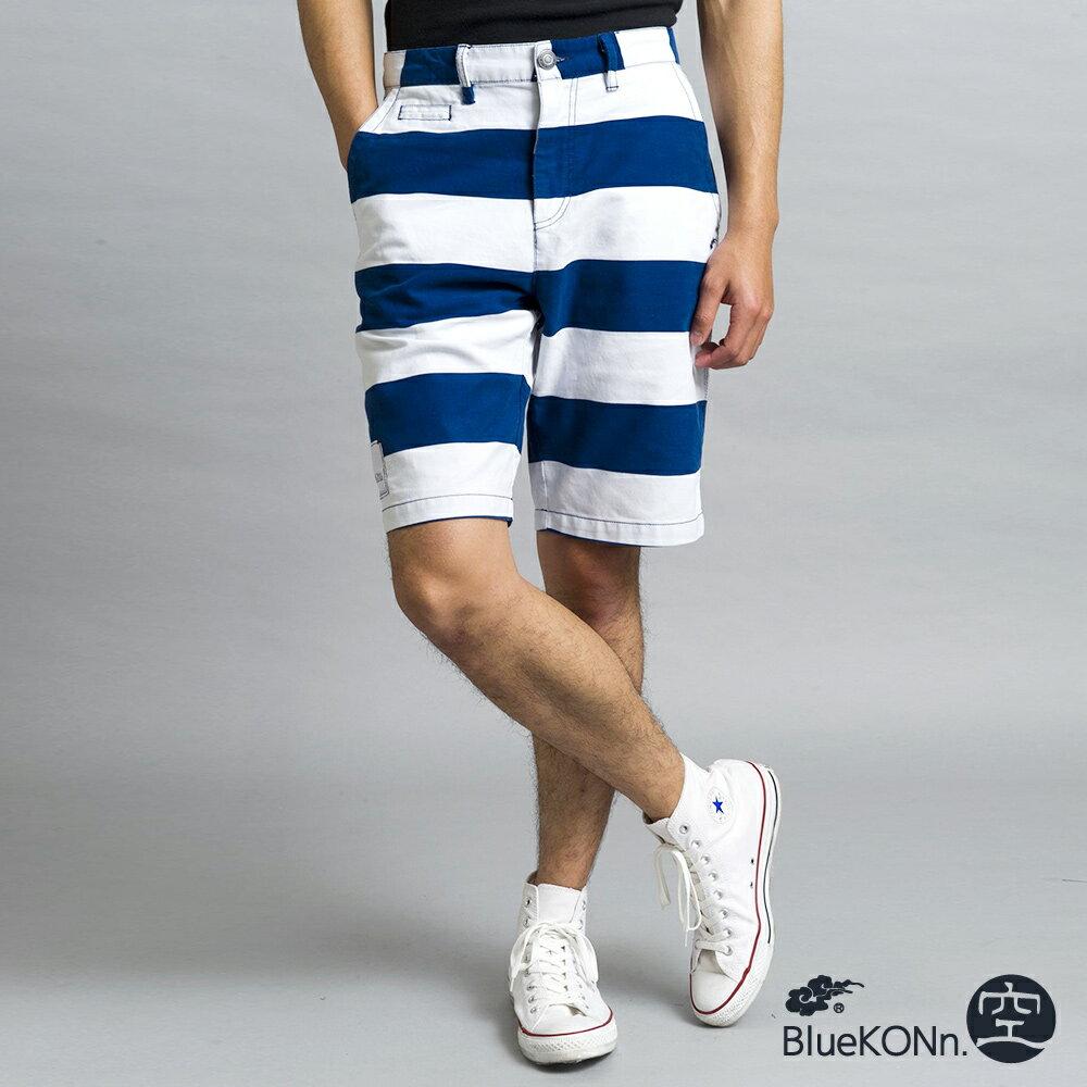 KON條紋休閒短褲(丈青) - BLUE WAY BlueKONn.空