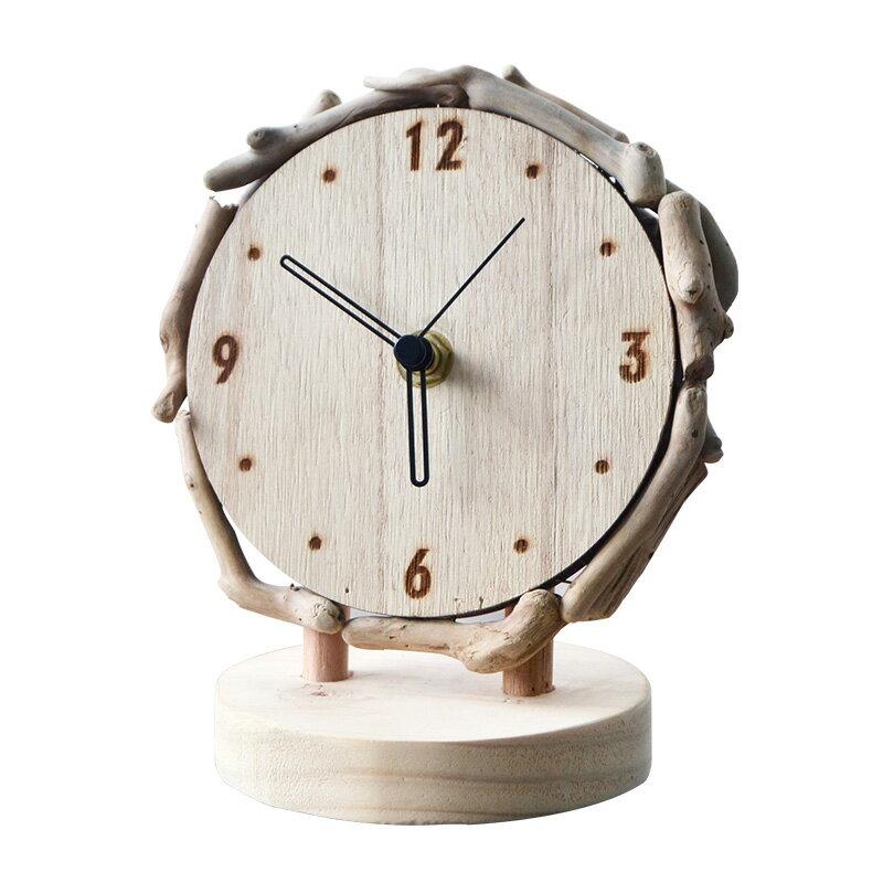 原木台式鐘表座鐘客廳簡約時鐘擺件桌面靜音創意台鐘