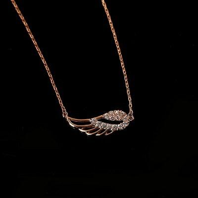 ~純銀項鍊 鍍18K金鑲鑽吊墜~天使之翼 七夕情人節 女飾品73dn63~ ~~米蘭 ~