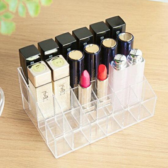 ?MY COLOR?無印風格系列-24格口紅收納盒 壓克力 化妝品 透明 化妝盒 好拿 分類【P271】