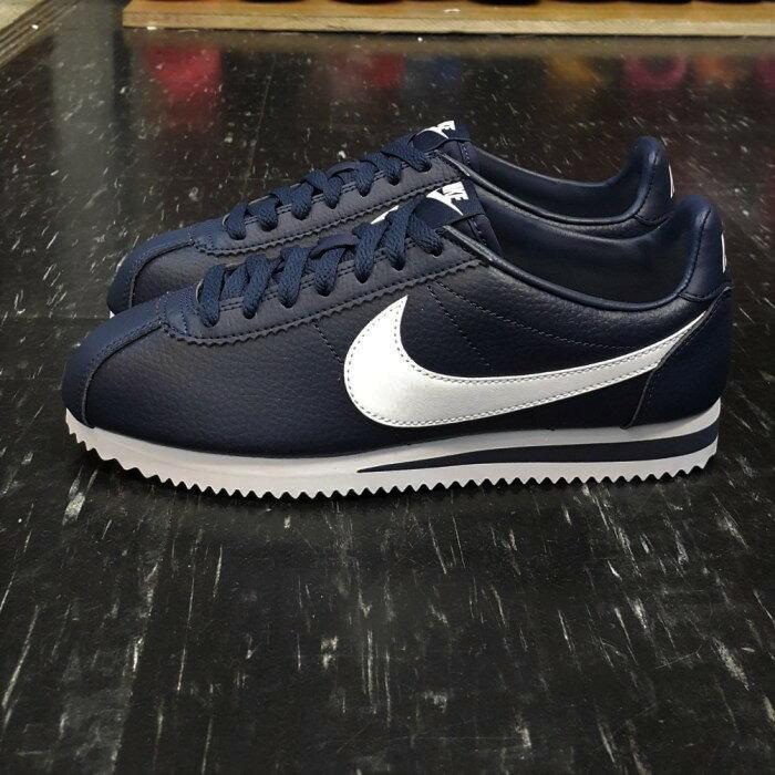 NIKE CLASSIC CORTEZ LEATHER 阿甘鞋 藍色 白勾 皮革 藍底白勾 復古 749571-414
