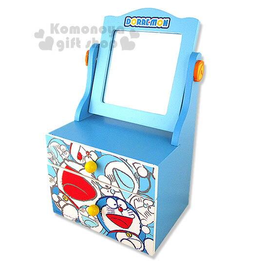 〔小禮堂〕哆啦A夢 迷你型化妝台《小.藍.多動作滿版》雙抽屜