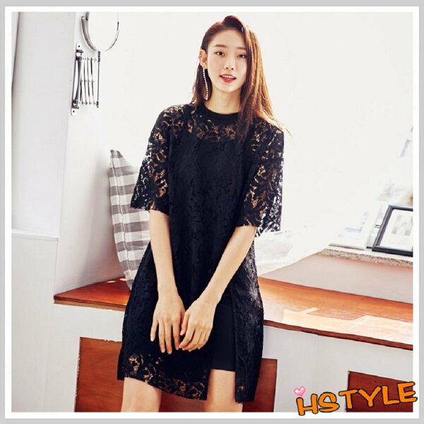 連身裙兩件式蕾絲質感短袖洋裝LZ7740-創翊韓都