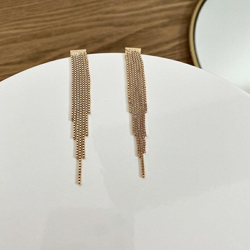 金屬質感S925銀針鏈條流蘇長款耳環網紅潮人時尚簡約氣質個性耳飾1入