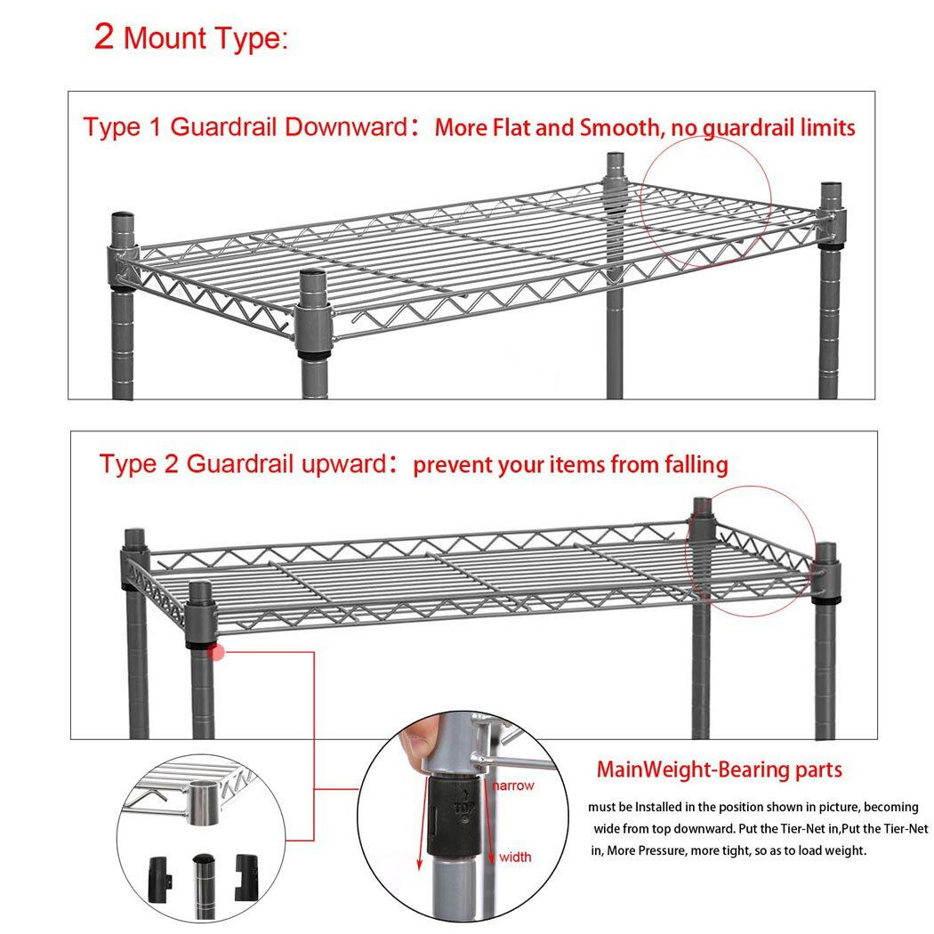"5-Shelf Wire Shelving Rack Shelves with Wheels 14 x 29 x 61"" 5"